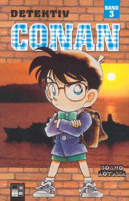 Detektiv Conan 3 - German Detective Magazine - Band 3 - Small Boy With Back Pack Wearing Glasses - Boy Crossing His Arms - Sunset In Back Ground