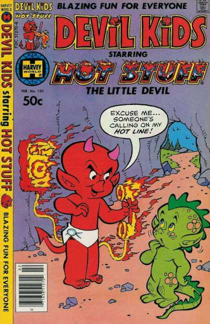 Devil Kids 103 - Hot Stuff The Little Devil - Red Devil - Green Dinosaur - Cave - Flaming Phone