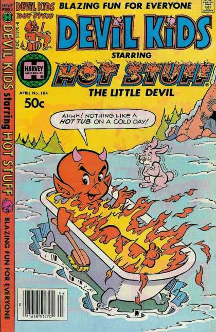 Devil Kids 104 - Hot Stuff - Bath Tub - Fire - Rabbit - The Little Devil