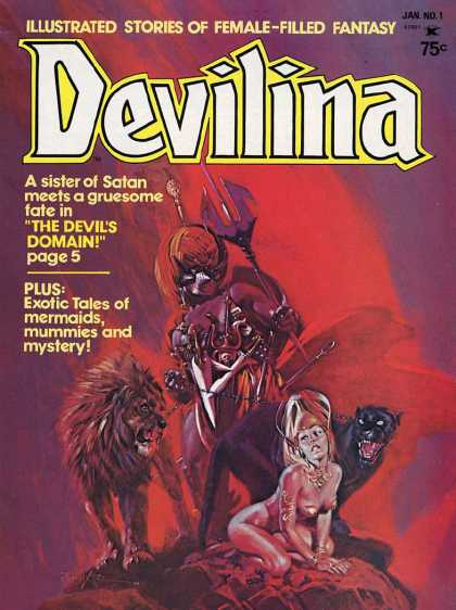 Devilina 1 - Illustrated Stories Of Female-filled Fantasy - Lion - Sword - The Devils Domain - Exotic Tales Of Mermaidsmummies And Mystery