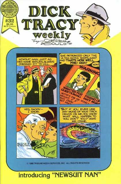 Dick Tracy Weekly 32 - Trench Coat - Newsuit Nan - Wanted Poster - Mr Crime - Fish
