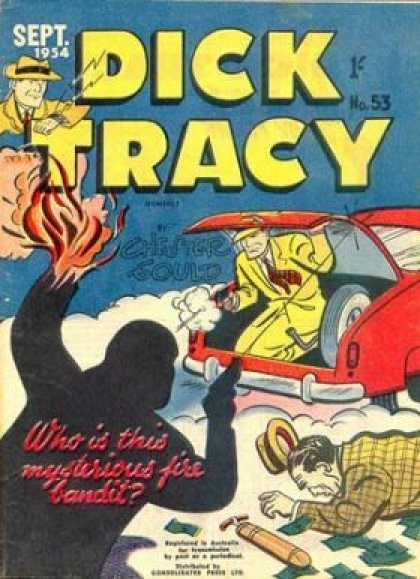 Dick Tracy 53 - Man - Guns - Fire - Car - Hat