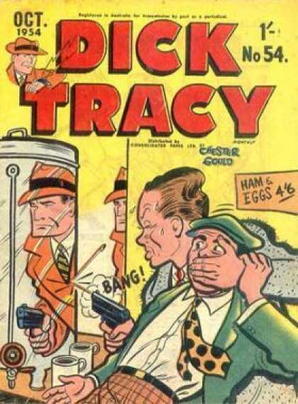 Dick Tracy 54 - Chester Gould - Oct 1954 - No 54 - Ham U0026 Eggs - Thug Sees Dick Traceys Reflection
