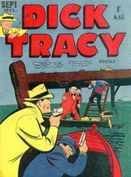 Dick Tracy 65 - Dick Tracy - Sept 1955 - Chester Gould - Guns - Boats