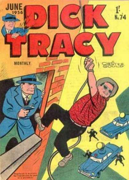 Dick Tracy 74 - Searchlights - Man On Rope - Police Cars - Window - June 1956