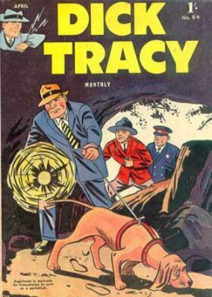 Dick Tracy 84 - Cave - Flashlight - Dog - Police - Search