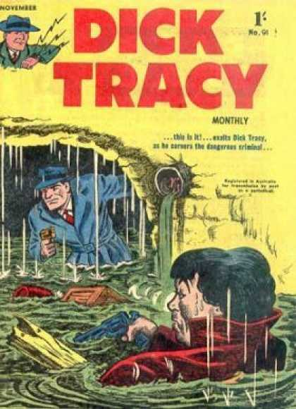 Dick Tracy 91 - Dick Tracy - Sewer - The Dangerous Criminal Is Cornered - Gunplay - Blue Trenchcoat