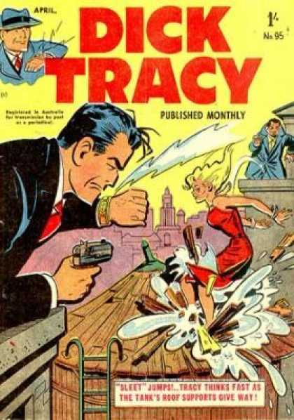 Dick Tracy 95 - Published Monthly - Sleet Jumps - Detective - Woman In A Red Dress - Tanks Roof