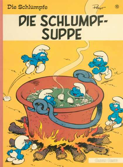 Die Schluempfe 10 - Smurf - Blue - Fire - Logs - Kettle