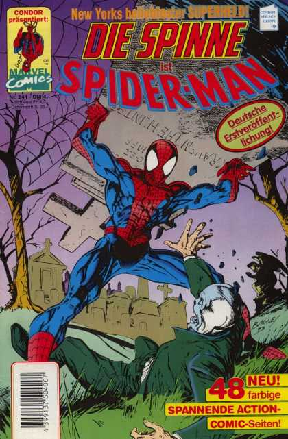 Die Spinne 401 - Graveyard - Tombstone - Spiderwebs - Man On Ground - German Language