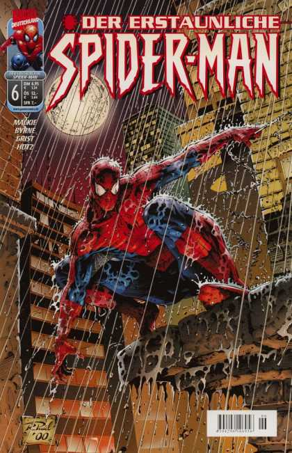 Die Spinne 483 - Spider-man - Pouring Rain - Full Moon - Buildings - Ledge