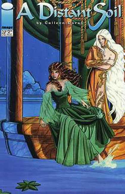 Distant Soil 20 - Image - Colleen Dorad - Green Dress - Brunette - Water