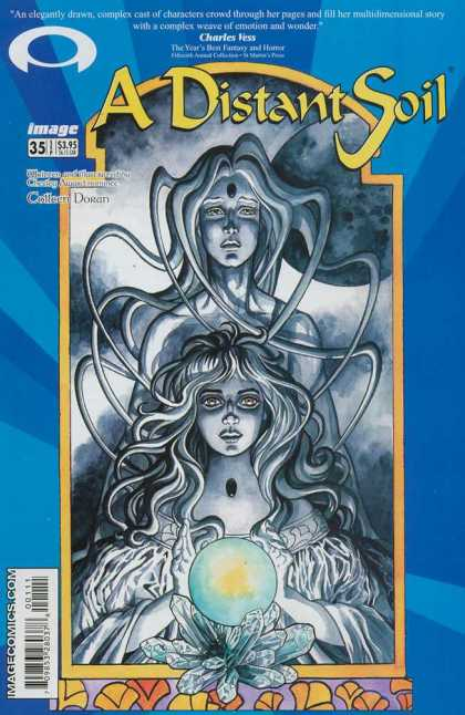 Distant Soil 35 - Charles Vess - Crystal Ball - Black And White - Woman - Jewels