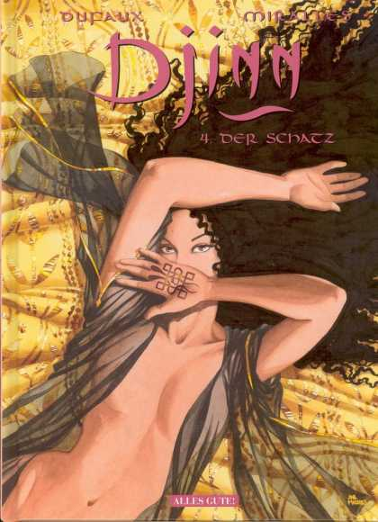 Djinn 4 - Naked Girl - Satin - Flowing Hair - Bed Sheet - Eyes