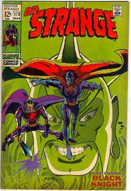 Doctor Strange 178 - Black Knight - Large Head - Sword - Masks - Running - Gene Colan