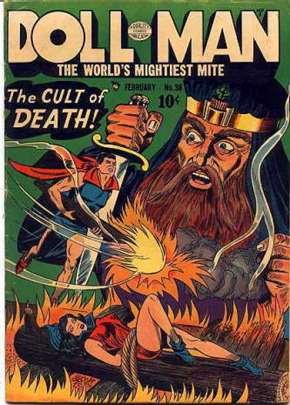 Doll Man 38 - Cult Of Death - February - 10 Cents - Sword - Worlds Mightiest Mite