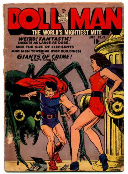 Doll Man 40 - Short Shorts - Giant Spider - Giant Fire Hydrant - Red Cape - Running Away From A Spider