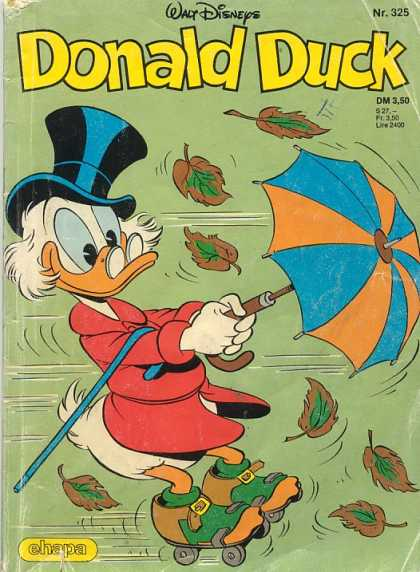 Donald Duck (German) 128 - Wind - Umbrella - Leaves - Hat - Happy