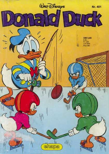 Donald Duck (German) 161 - Walt Disneys - Fishing Pole - Hockey Put - Helmets - Ice Skates