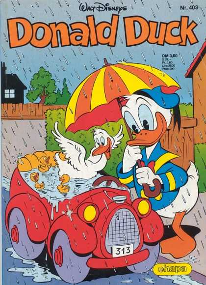 Donald Duck (German) 163 - Disney - Umbrella - Duck - Car - Rain