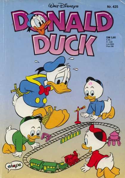 Donald Duck (German) 183 - Model Train - Tied Up - Fun - Watertower - Duck
