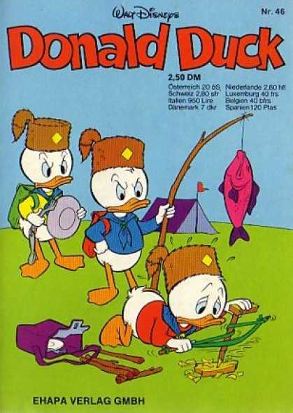 Donald Duck (German) 45 - Fishing - Camping - Fire - Food - Tent