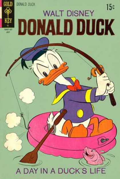 Donald Duck 138 - Walt Disney - Lbent Fishing Pole - Pale Green Background - A Day In A Ducks Life - Round Pink Raft