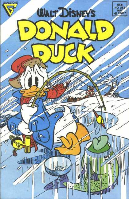 Donald Duck 253 - Ice Fishing - Fish - Fishing Pole - House With Snow On Roof - Wind Blown Tree