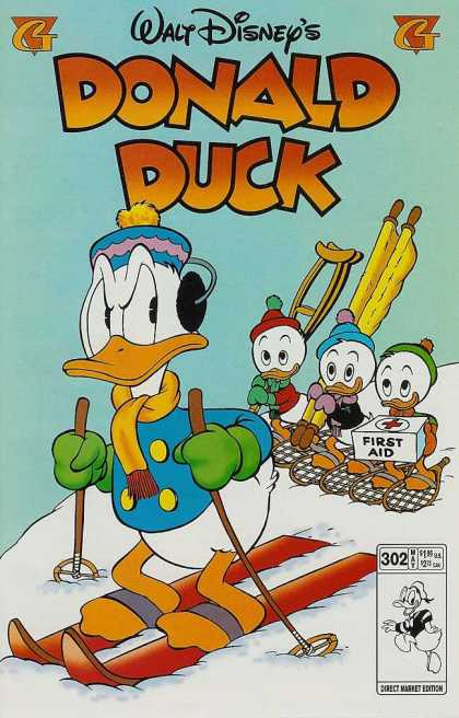 Donald Duck 302 - Skiing - Huey Duey U0026 Luey - First Aid Kit - Stretcher - Crutches