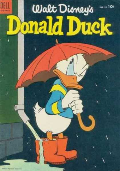 Donald Duck 35 - Rain - Umbrella - Annoyed - Gutter - Water In Boots