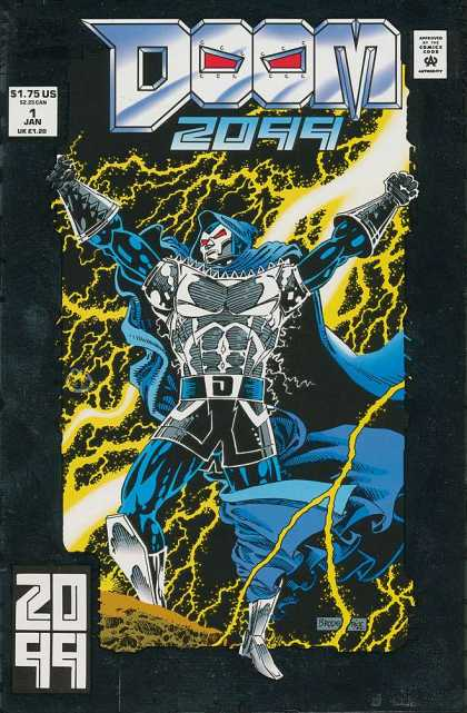 Doom 2099 1 - Lightning - Victor Von Doom - Blue Cape - Electricity - Marvel