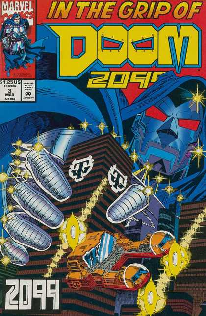 Doom 2099 3 - Giant Dr Doom - Hand Crushing Building - Yellow Sparks - Flying Yellow And Red Car - Mar 3