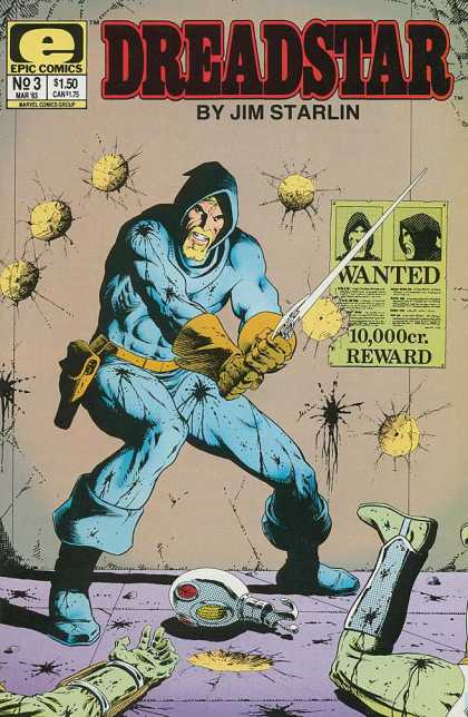 Dreadstar 3 - Epic - Sword - Blood - Gun - Wanted - Jim Starlin