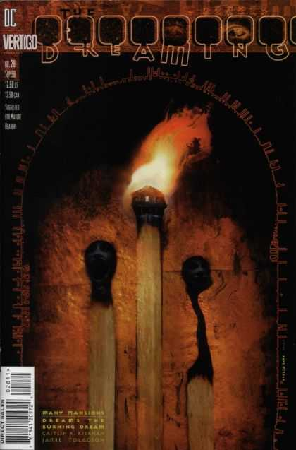 Dreaming 28 - Trhee Sticks - Flame - Burned Tips - Dark Backround - Yellow And Red - Dave McKean