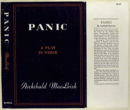 Dust Jackets - Panic, a play in verse.