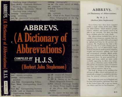 Dust Jackets - Abbrevs. (a dictionary of