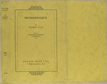 Dust Jackets - Humoresque, by Humbert Wo