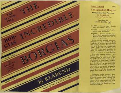 Dust Jackets - The incredible Borgias.