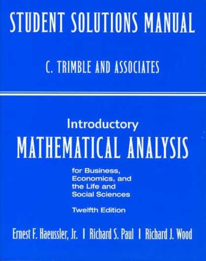 Economics Books - Student's Solutions Manual for Introductory Mathematical Analysis for Business,