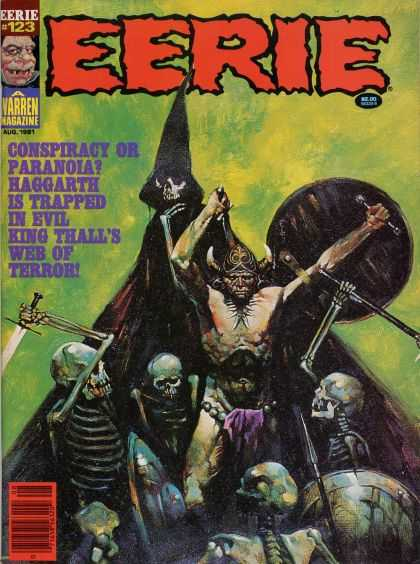 Eerie 123 - Varren Magazine - Skeletons - Swords - Shield - Battle