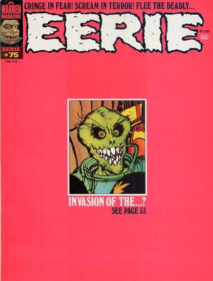 Eerie 75 - Cringe In Fear - Scream In Trror - Flee The Deadly - Warren Magazine - Invasion Of The