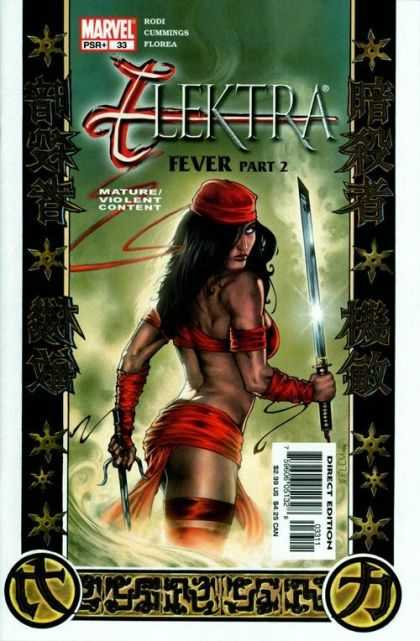 Elektra 33 - Black - Sword In Right Hand - Red Hat - Red Butt Sash