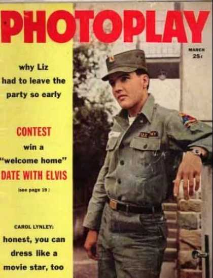 Elvis Presley Books - Photoplay Movie Magazine; March 1960 Elvis Presley cover