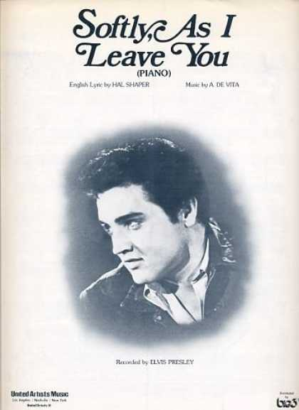 Elvis Presley Books - Softly, As I Leave You (Elvis Presley Cover) As Recorded by Elvis Presley (Words