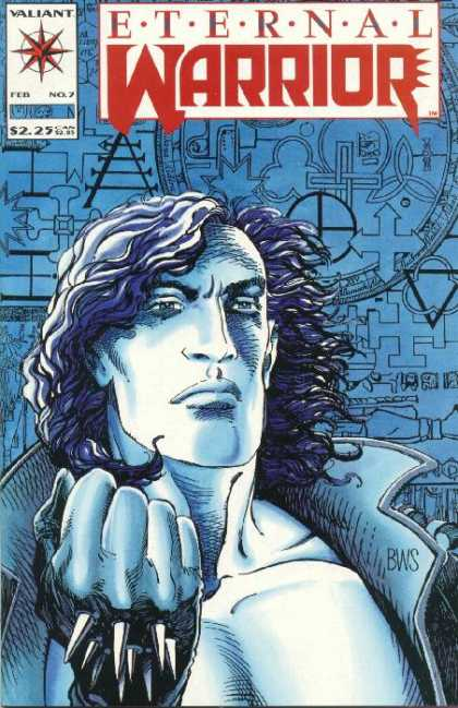 Eternal Warrior 7 - Spiked Hands - Valiant - No 7 - Symbols - Blowing Hair - Barry Windsor-Smith