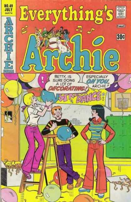 Everything's Archie 49 - Balloons - Decorating - Ladder - Rock Band Inset - White Dog