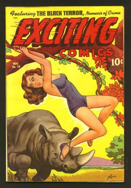 Exciting Comics 58 - Charging Animal - Swinging On Vine - Tree - Black Terror - Nemesis
