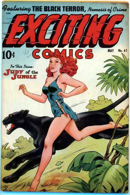 Exciting Comics 61 - Panther - Red Hair - Jungle - Vein - Running