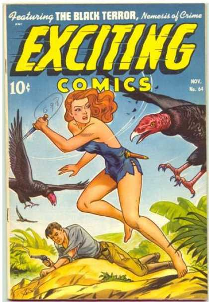 Exciting Comics 64 - Black Terror - Golden Age - Vultures - Jungle Girl - Gun