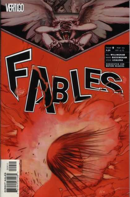Fables 9 - Vertigo - Red - Explosion - Hair Blown Forward - Gargoule Hands On Eyes - James Jean